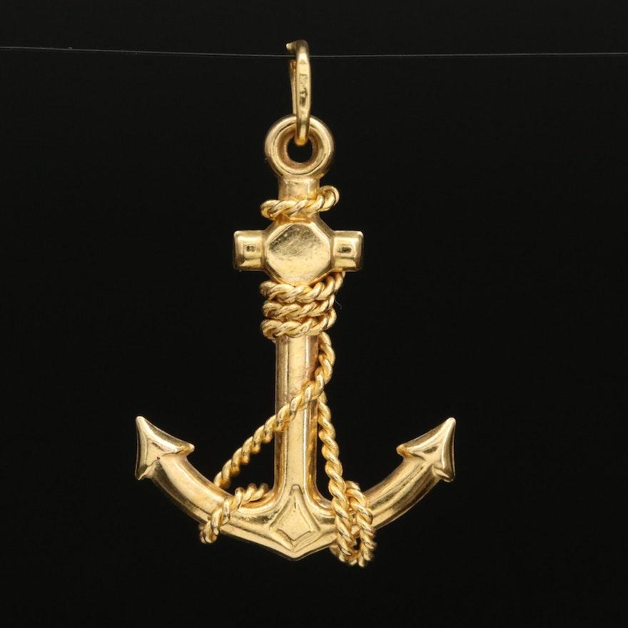 10K Anchor Pendant