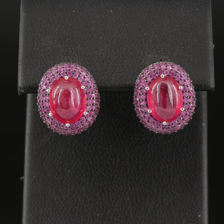 Sterling Silver Corundum and Pavé Pink Sapphire Halo Earrings