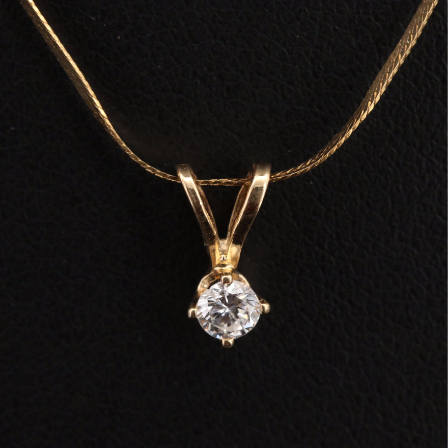 14K 0.12 CT Diamond Pendant on Italian Herringbone Chain Necklace