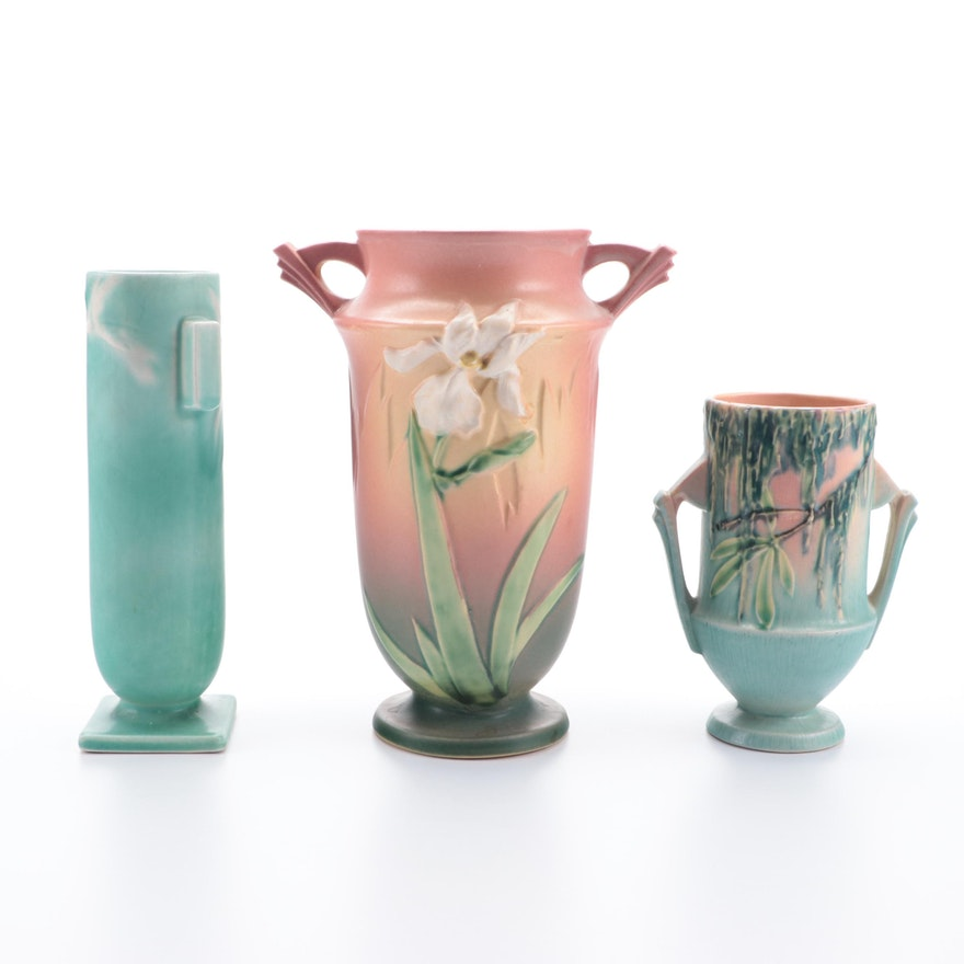 """Roseville Pink and Green """"Spanish Moss"""", """"Iris"""" and Other Pottery Vase"""