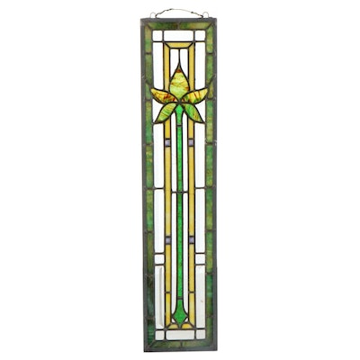 Arts and Crafts Style Floral Stained Glass Panel, 20th Century