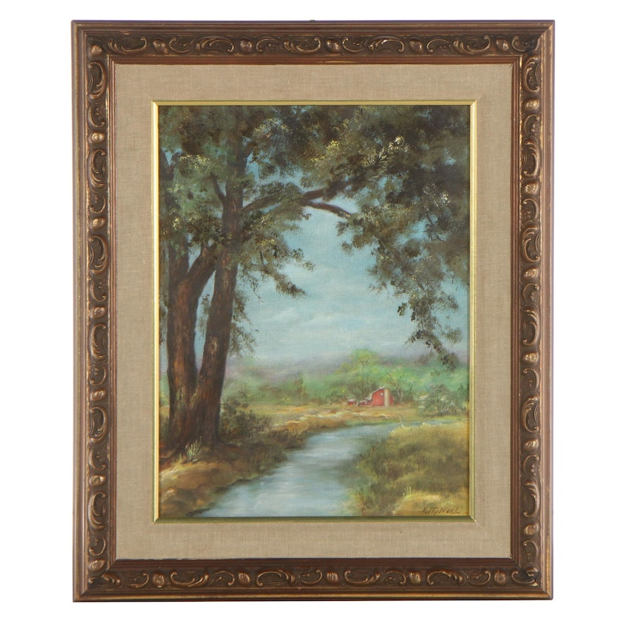 Kitty Noel Country Landscape Oil Painting, Mid to Late 20th Century