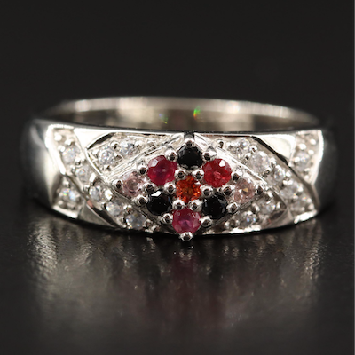 Sterling Silver Sapphire, Black Spinel and White Zircon Ring