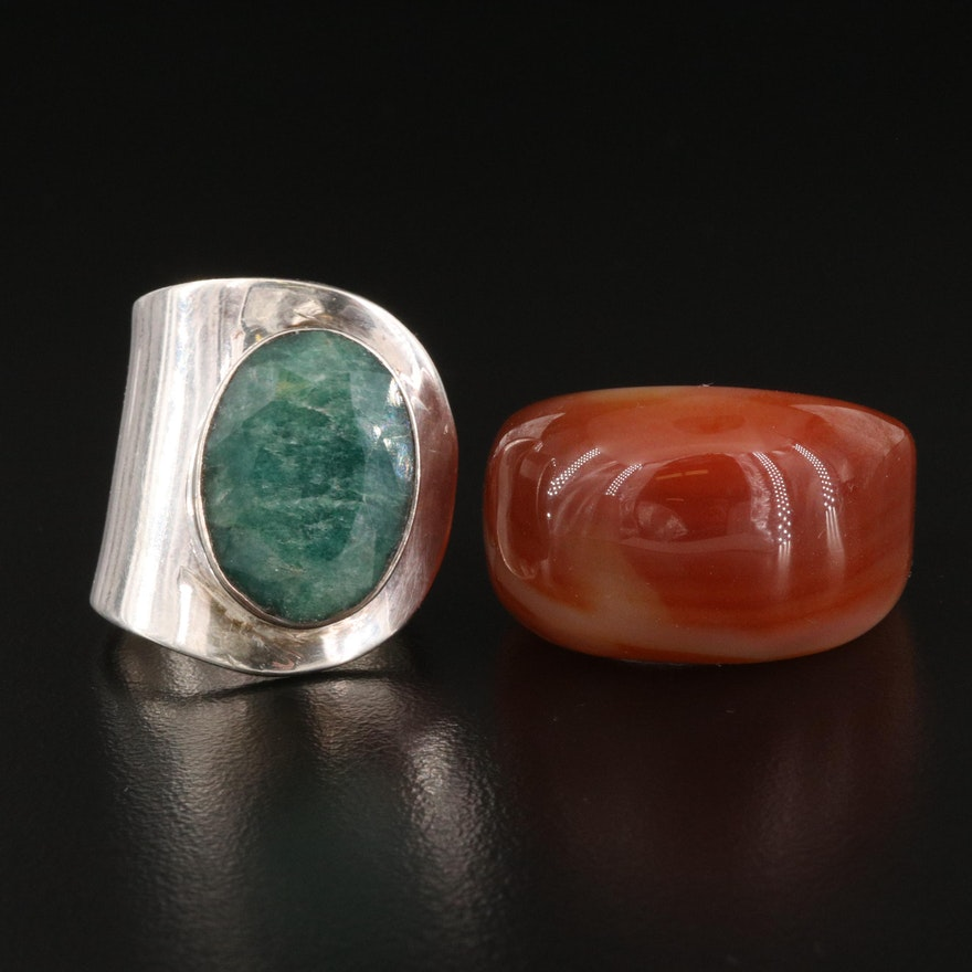 Sterling Green Beryl Wrap Ring with Agate Hololith Ring