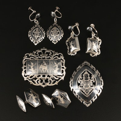 Vintage Siam Niello Figural Jewelry Including Brooches, Earrings, and Cufflinks