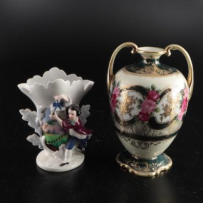 Floral and Gold Embellished Vase and Other Porcelain Vase