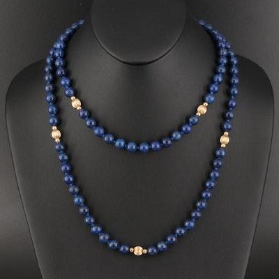 Lapis Lazuli Beaded Necklace with 14K Clasp