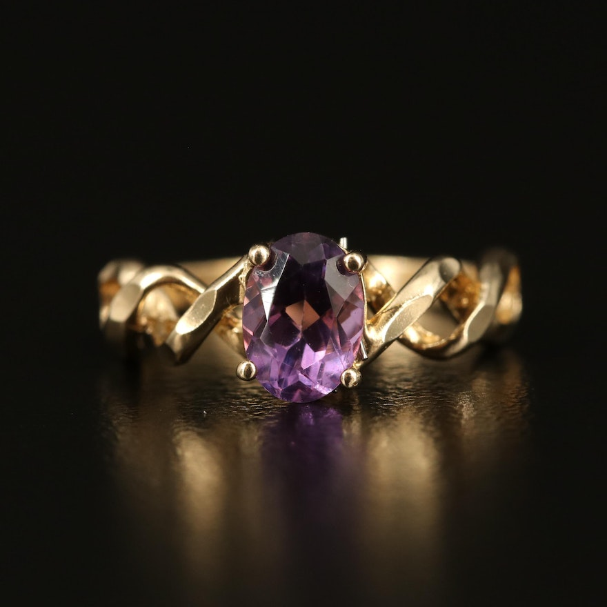 10K Amethyst Ring with Twisted Shoulders