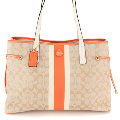 Coach Signature Stripe PVC Carryall Tote with Leather Trim