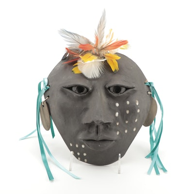 Signed Native American Inspired Decorative Ceramic Mask with Feathers