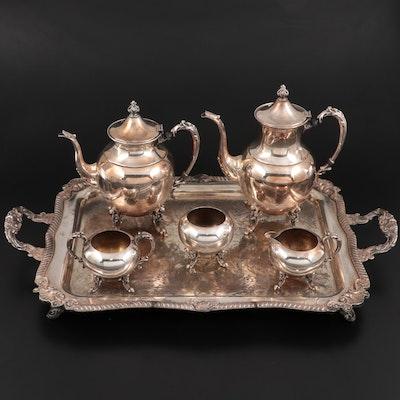 Sheridan Silver Company Silver Plate Tea Service on Tray, Mid-Late 20th Century