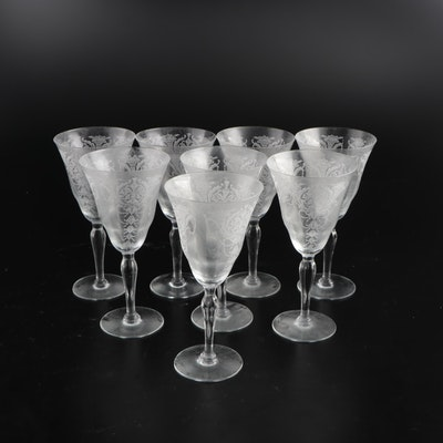 """Morgantown Etched Glass """"Milan"""" Wine Glasses, Early to Mid 20th Century"""