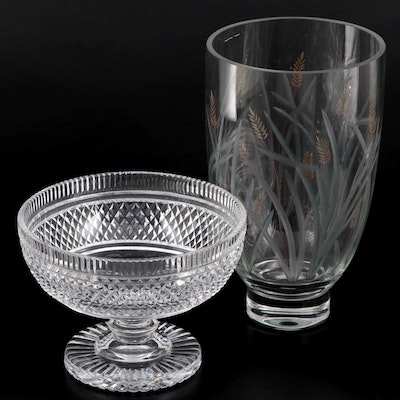 Waterford Crystal Giftware Footed Bowl and Hand-Etched and Painted Foxtails Vase