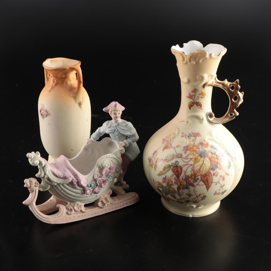 Ceramic Vases and Figural Bisque Vase, Early to Mid 20th Century