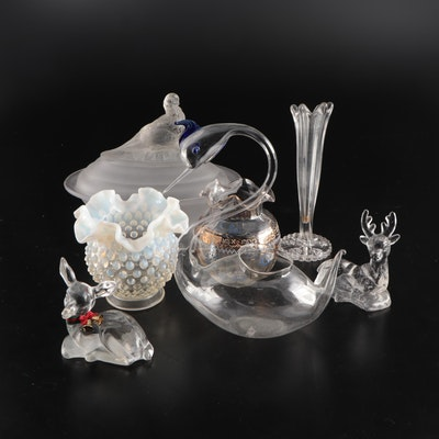 Glass Vases, Deer, Swan Vessel and More Assorted Decorations