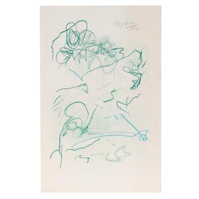 Nicholas Barbieri Abstract Pastel Drawing, 1982