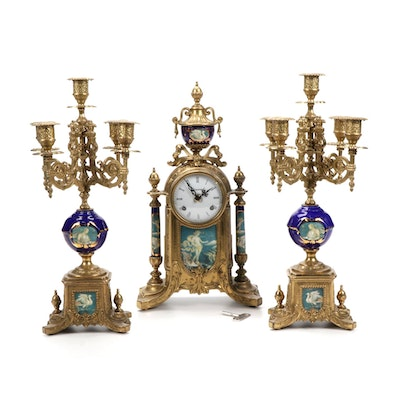 Italian Imperial Sèvres Style Clock Garniture, Mid to Late 20th Century