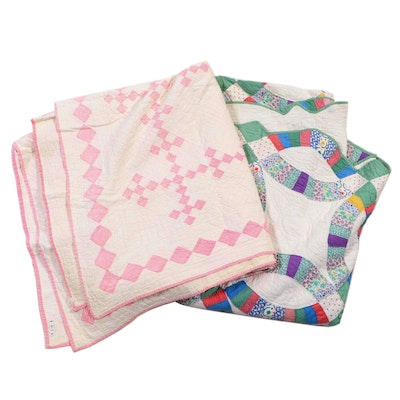 """Mary Vogele Handmade """"Double Wedding Ring"""" and """"Double 9 Patch"""" Pieced Quilts"""