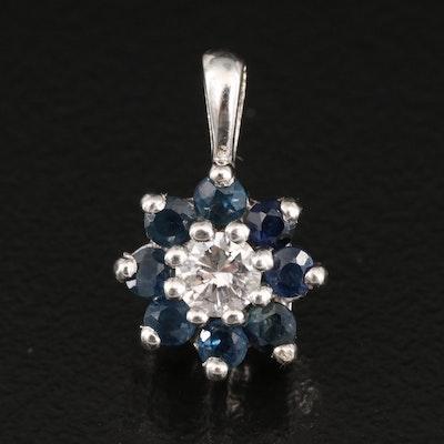 14K Diamond and Sapphire Pendant