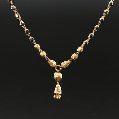 22K Hypersthene Drop Necklace