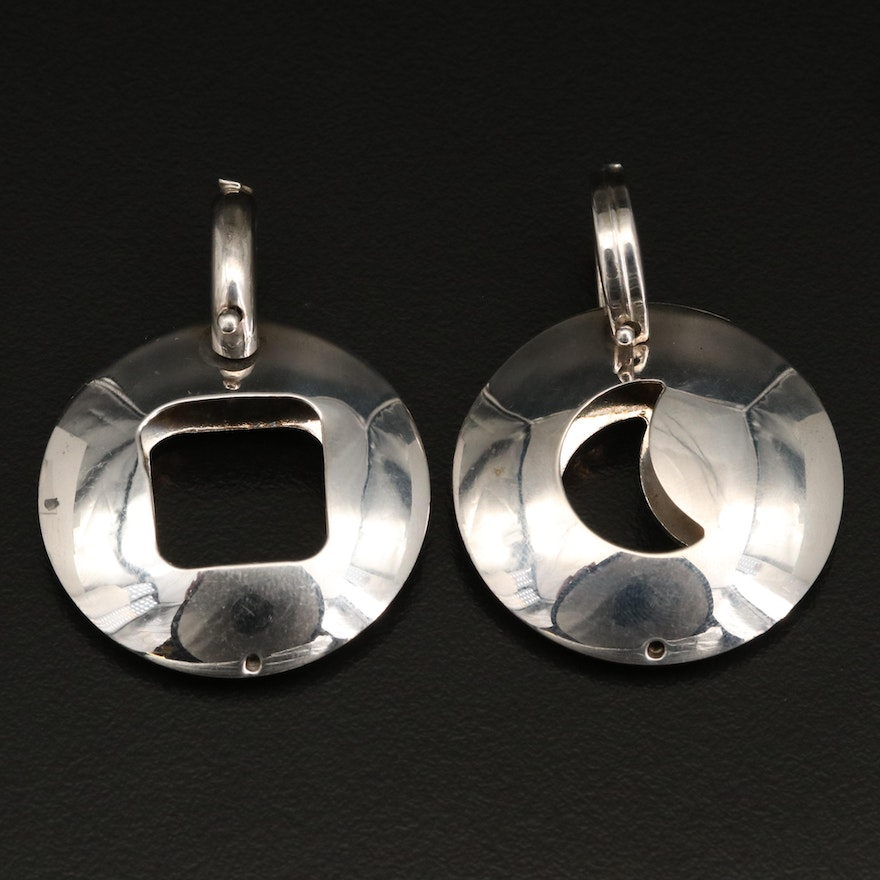 Italian Sterling Moon and Square Pendants
