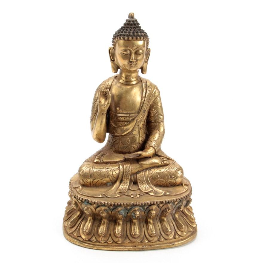 Chinese Cast Brass Gautama in Shunya Mudra Figurine