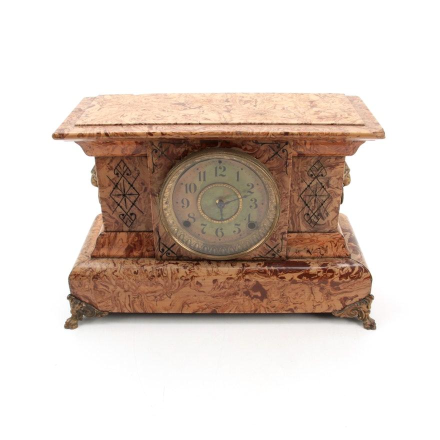 Seth Thomas Adamantine Veneer Wood Mantel Clock, Late 19th to Early 20th C.
