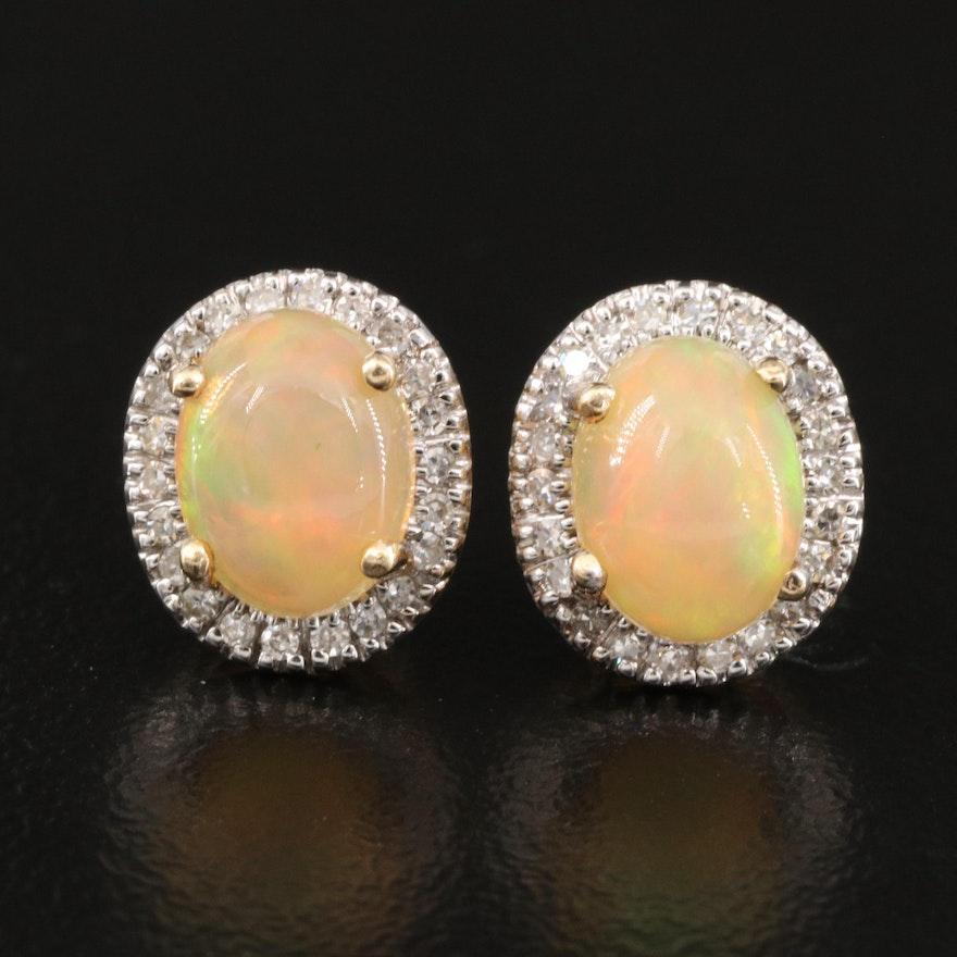 14K Opal and Diamond Halo Earrings