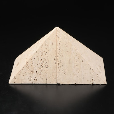 Raymor Travertine Bookends, Mid to Late 20th Century
