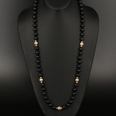 14K Black Onyx Beaded Necklace