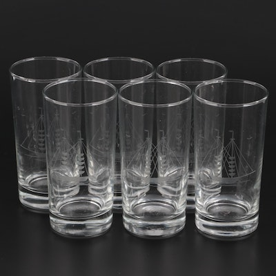 """Javit Etched Glass """"Clipper Collection"""" Tumblers, Late 20th Century"""