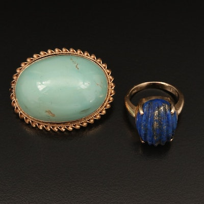 14K Lapis Lazuli Ring and Turquoise Brooch