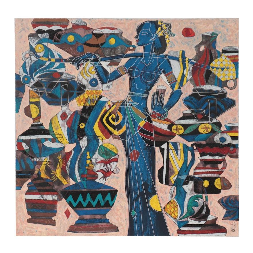 He Neng Abstract Serigraph, 1987