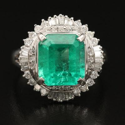 Platinum 3.59 CT Columbian Emerald and Diamond Ballerina Ring with GIA Report