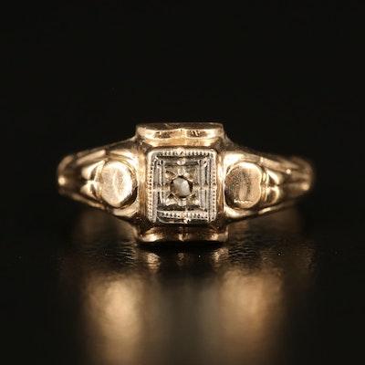 Vintage 10K Rough Cut Diamond Ring with Ring Box