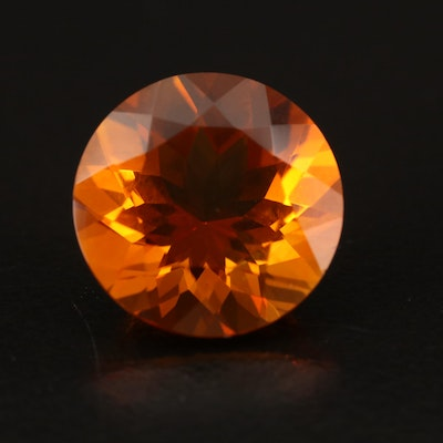 Loose 6.92 CT Round Faceted Citrine