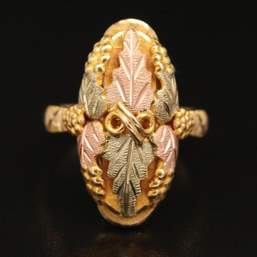 Landstrom's Black Hills Gold 10K Tri-Colored Gold Foliate Ring