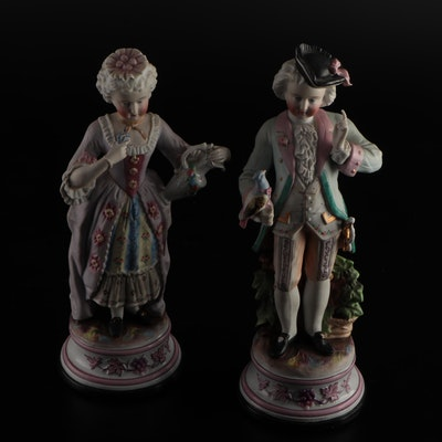 Pair of Rococo Style Ceramic Figurines, Early to Mid 20th Century
