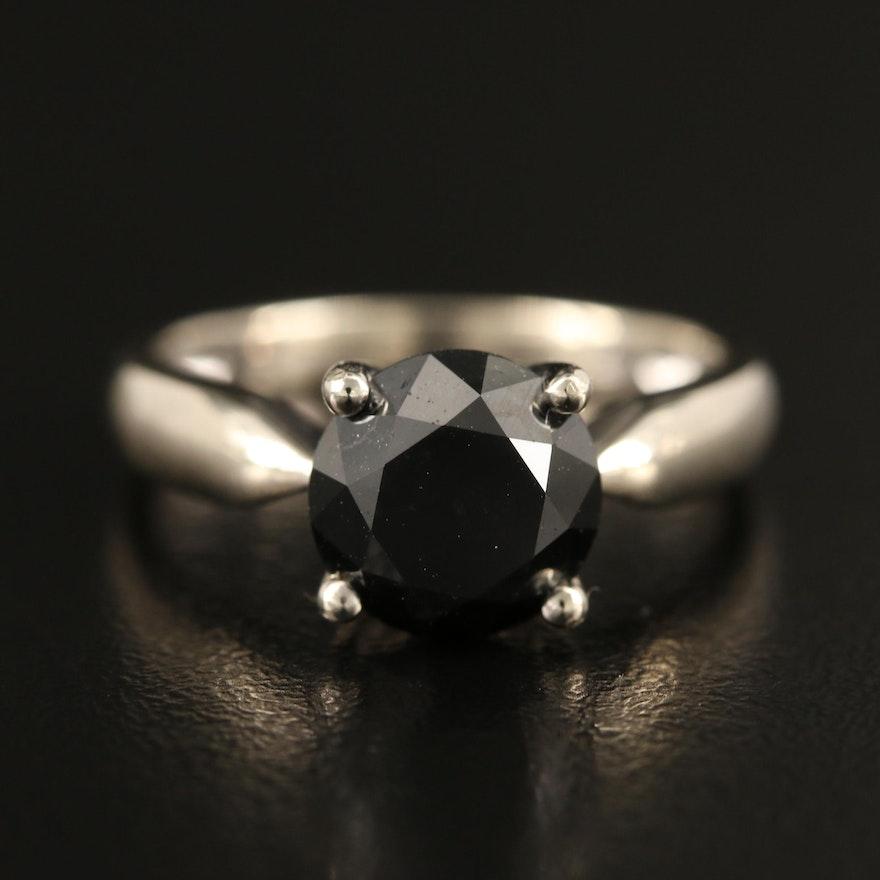 10K 2.76 CT Black Diamond Solitaire Ring