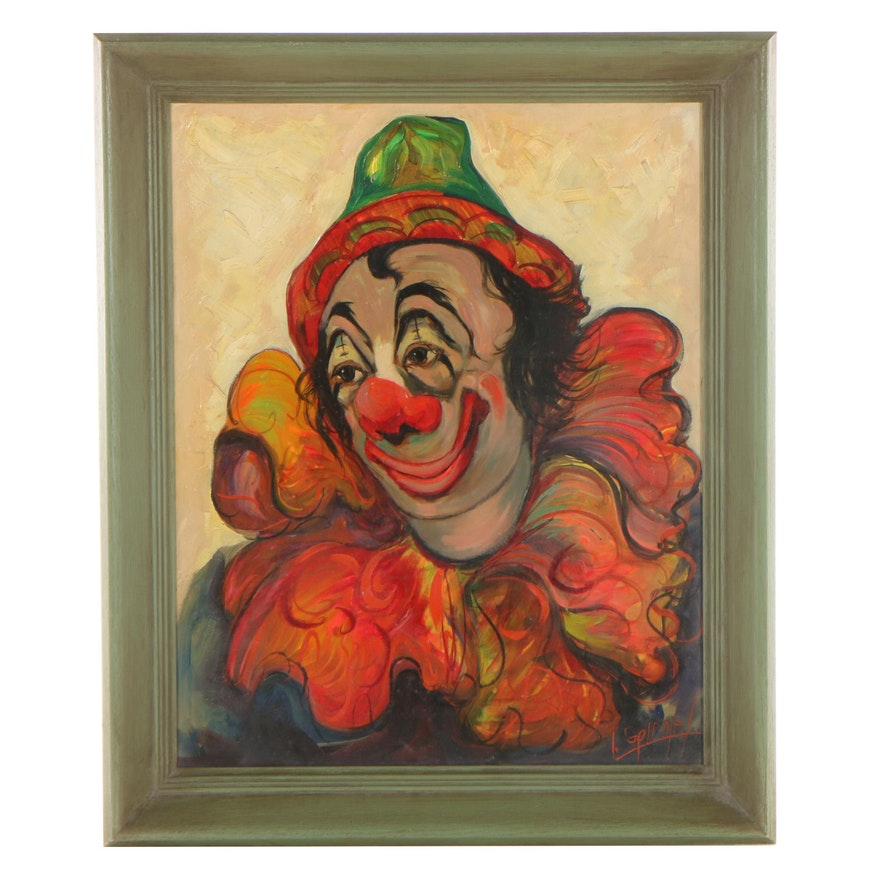 Louis Spiegel Clown Portrait Oil Painting, Mid-Late 20th Century