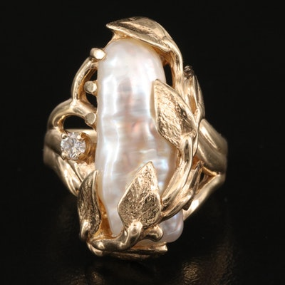 14K Pearl and Diamond Foliate Ring
