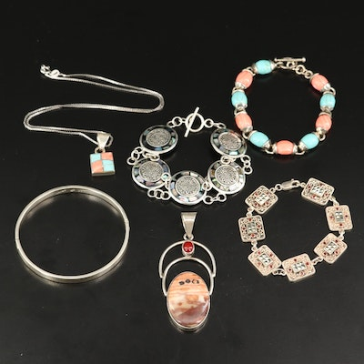 Mexican Sterling Silver Jewelry Featuring Jasper, Abalone and Carnelian