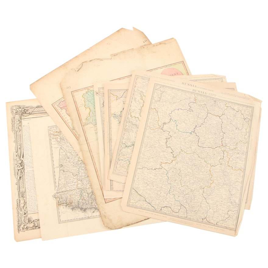Hand-Colored Engraving Maps, Late 18th - Mid-19th Century