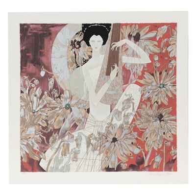 "Huang Guan Yu Serigraph ""Melody in White,"" Circa 1990"