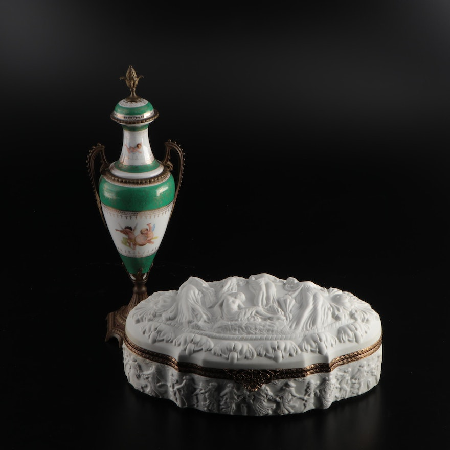 French Bisque Jewelry Casket and Sèvres Style Ormolu Mounted Urn, 20th Century