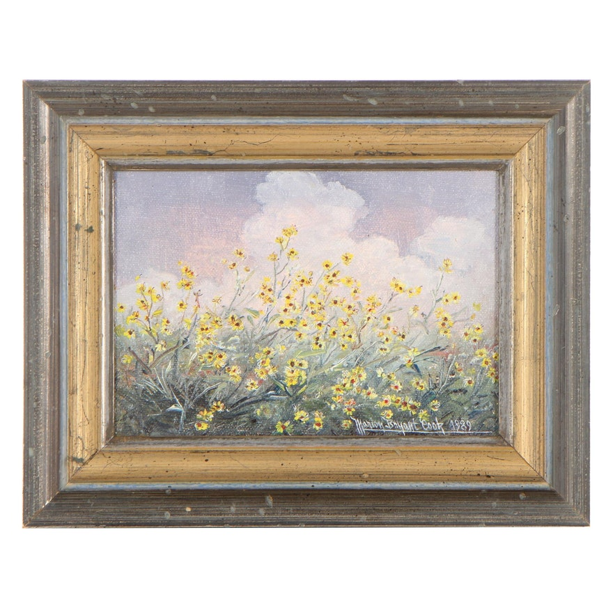 Marion Bryant Cook Oil Painting of Wildflowers, 1989