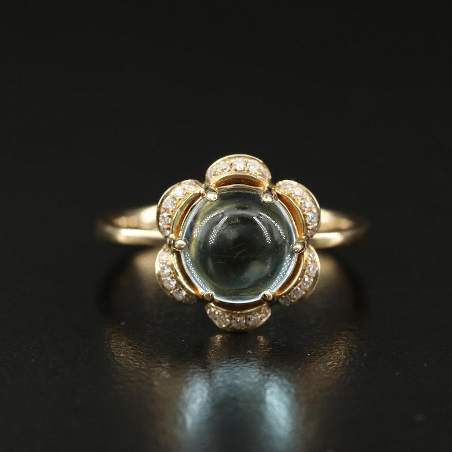 14K Sky Blue Topaz and Diamond Flower Ring