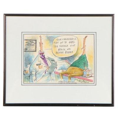 David Catrow Ink and Watercolor Cartoon Drawing, Circa 1997