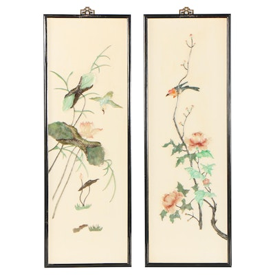 Chinese Painted Stone Relief Panels, Late 20th Century