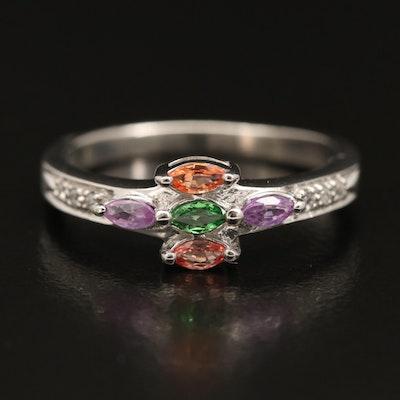 Sterling Silver Zircon, Sapphire and Tsavorite Ring